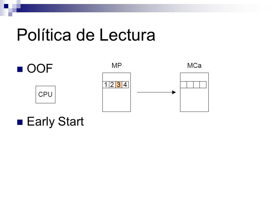 Victim Buffer (II) MCaVB MP 2 CPU según política de lectura 2 bloque r X