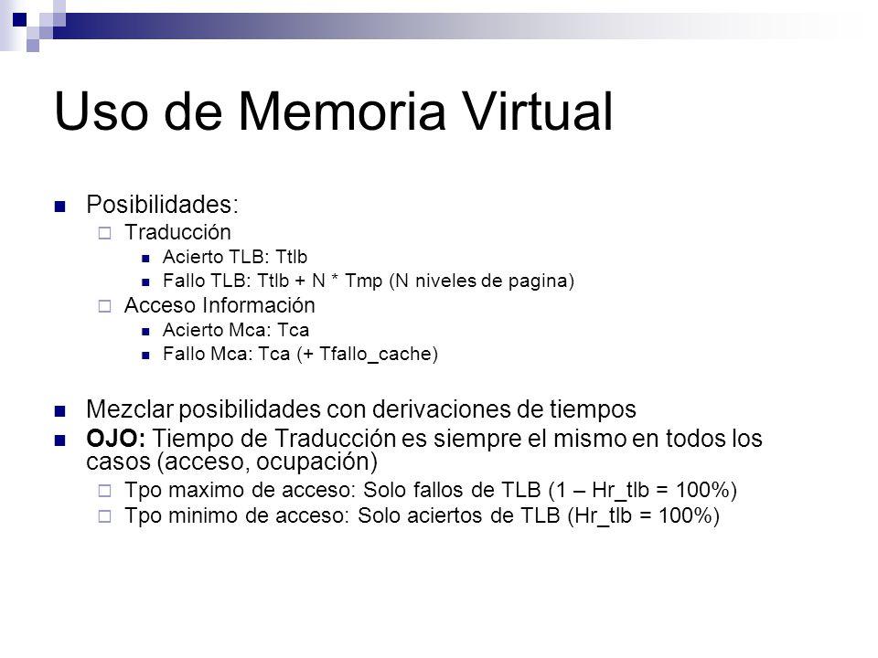 Uso de Memoria Virtual Posibilidades: Traducción Acierto TLB: Ttlb Fallo TLB: Ttlb + N * Tmp (N niveles de pagina) Acceso Información Acierto Mca: Tca Fallo Mca: Tca (+ Tfallo_cache) Mezclar posibilidades con derivaciones de tiempos OJO: Tiempo de Traducción es siempre el mismo en todos los casos (acceso, ocupación) Tpo maximo de acceso: Solo fallos de TLB (1 – Hr_tlb = 100%) Tpo minimo de acceso: Solo aciertos de TLB (Hr_tlb = 100%)