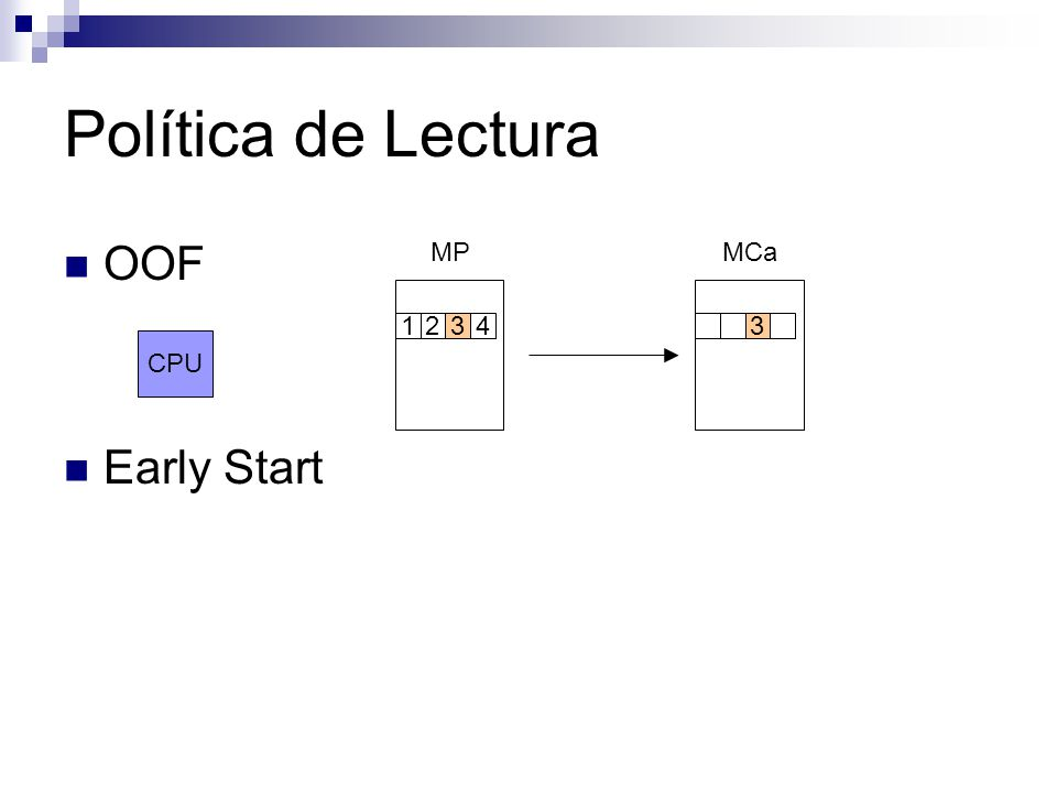 Stream Buffer Anticipaciones MCaStream MP CPU Según política lectura 2 2