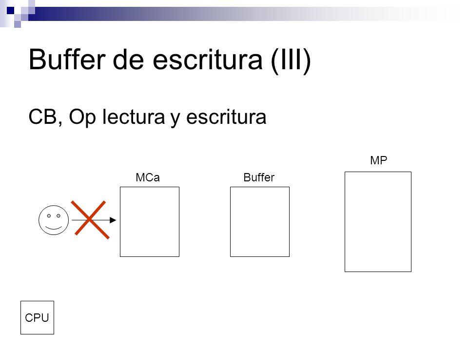 Buffer de escritura (III) CB, Op lectura y escritura MCaBuffer MP CPU