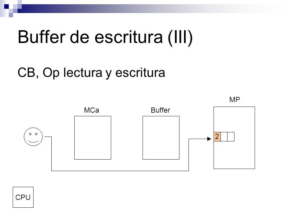 Buffer de escritura (III) CB, Op lectura y escritura MCaBuffer MP CPU 2