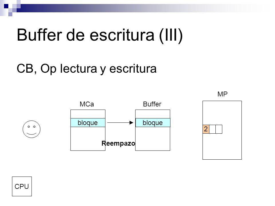 Buffer de escritura (III) CB, Op lectura y escritura MCaBuffer MP CPU 2 Reempazo bloque