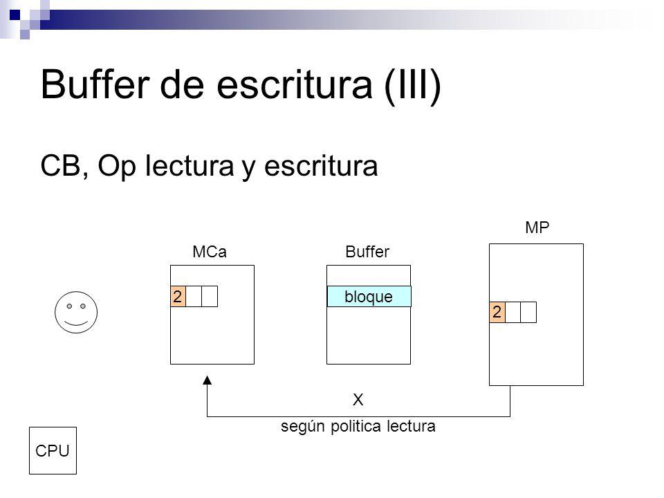 Buffer de escritura (III) CB, Op lectura y escritura MCaBuffer MP CPU 2 bloque2 según politica lectura X