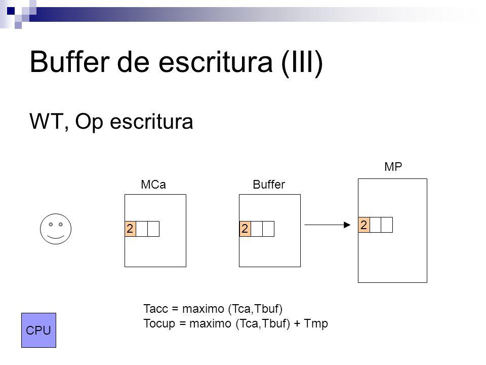Buffer de escritura (III) WT, Op escritura MCaBuffer MP CPU 22 2 Tacc = maximo (Tca,Tbuf) Tocup = maximo (Tca,Tbuf) + Tmp