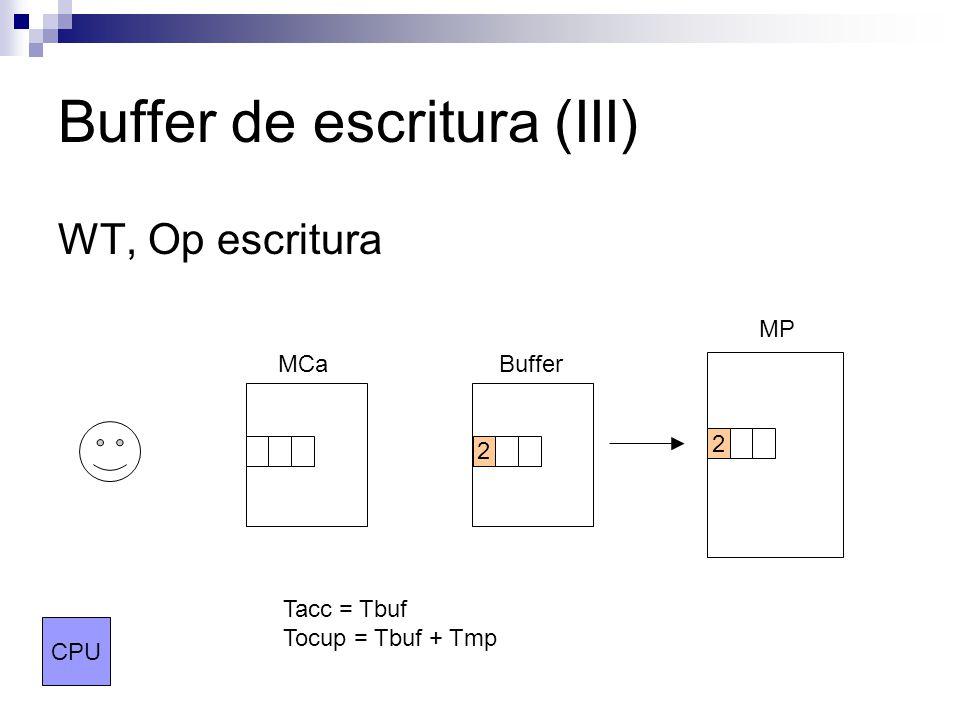 Buffer de escritura (III) WT, Op escritura MCaBuffer MP CPU 2 2 Tacc = Tbuf Tocup = Tbuf + Tmp