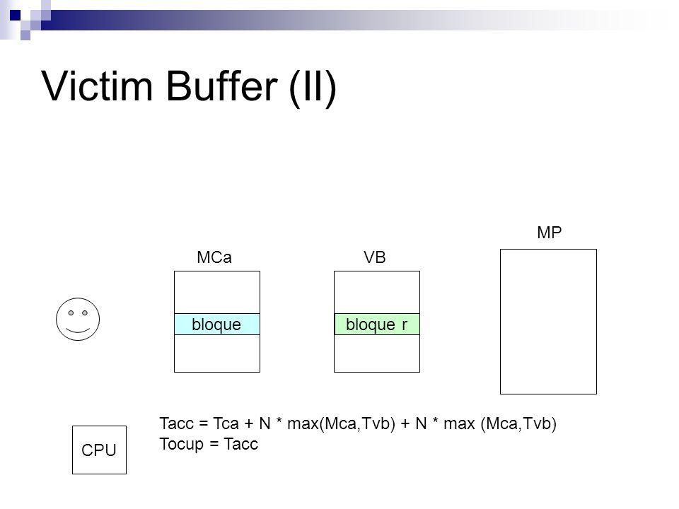 Victim Buffer (II) MCaVB MP bloquebloque r Tacc = Tca + N * max(Mca,Tvb) + N * max (Mca,Tvb) Tocup = Tacc CPU