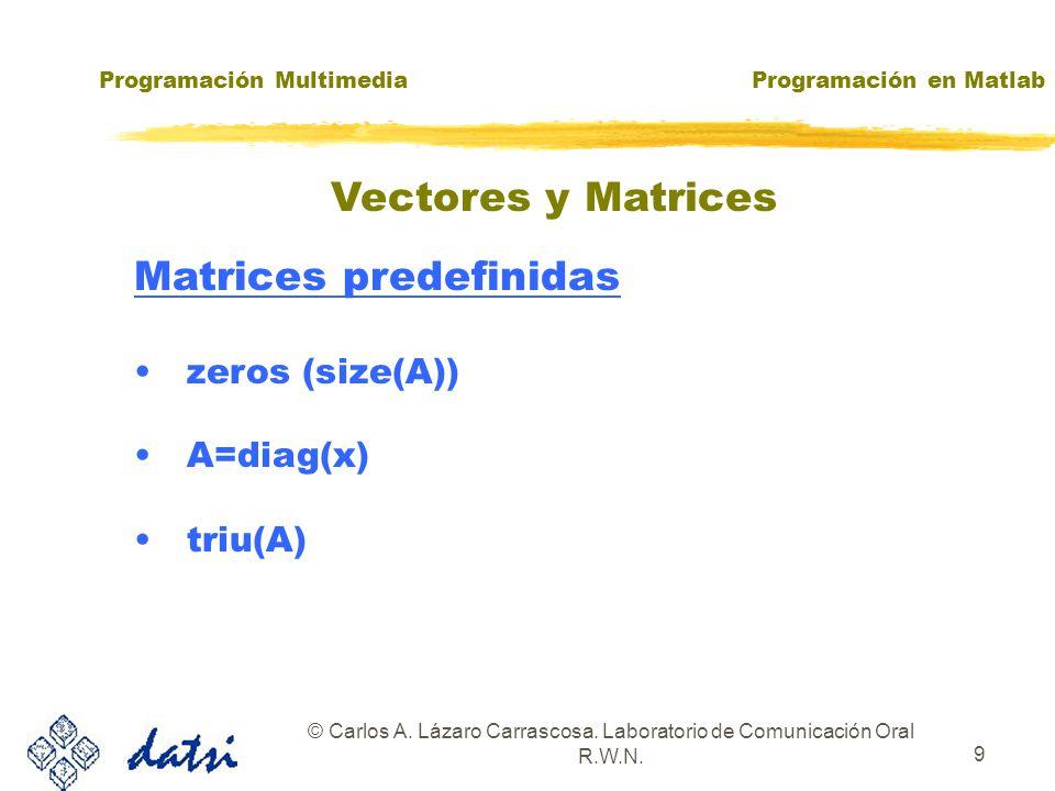 Programación MultimediaProgramación en Matlab © Carlos A.
