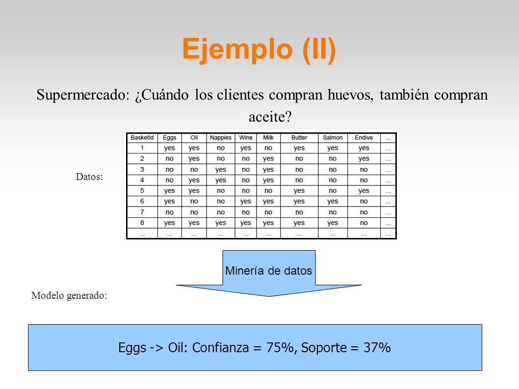 Ejemplo (II) Supermercado: ¿Cuándo los clientes compran huevos, también compran aceite? Datos: Modelo generado: Minería de datos Eggs -> Oil: Confianz