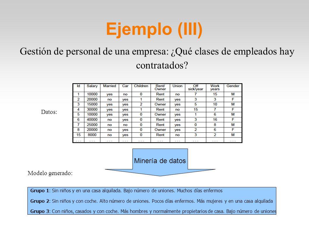 Ejemplo (III) Gestión de personal de una empresa: ¿Qué clases de empleados hay contratados? Datos: Modelo generado: Minería de datos Grupo 1: Sin niño