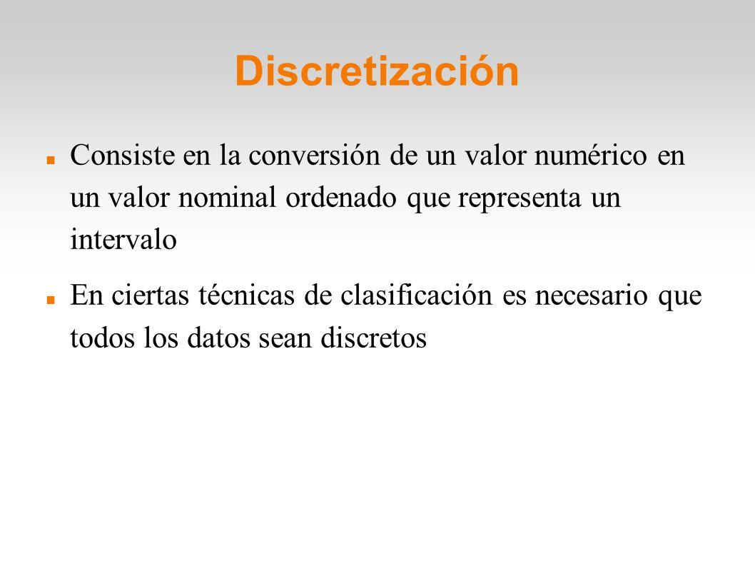 Discretización Consiste en la conversión de un valor numérico en un valor nominal ordenado que representa un intervalo En ciertas técnicas de clasific