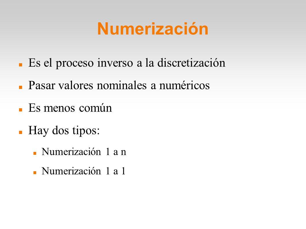 Numerización Es el proceso inverso a la discretización Pasar valores nominales a numéricos Es menos común Hay dos tipos: Numerización 1 a n Numerizaci