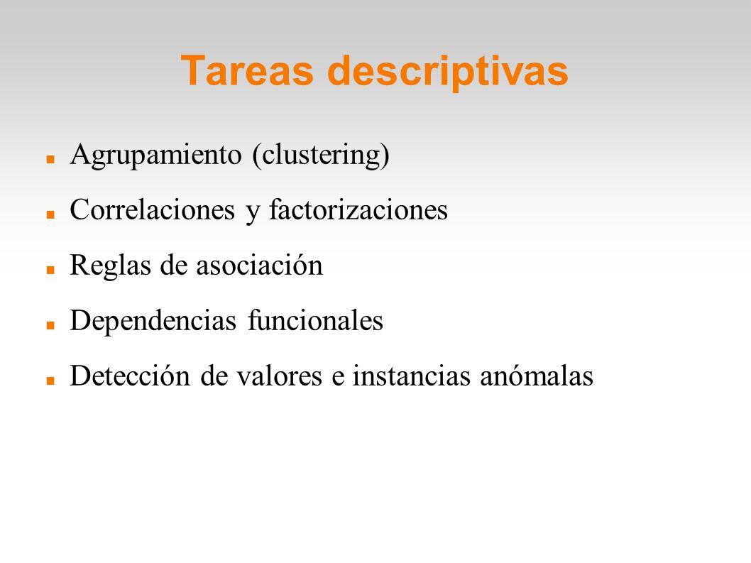 Tareas descriptivas Agrupamiento (clustering) Correlaciones y factorizaciones Reglas de asociación Dependencias funcionales Detección de valores e ins