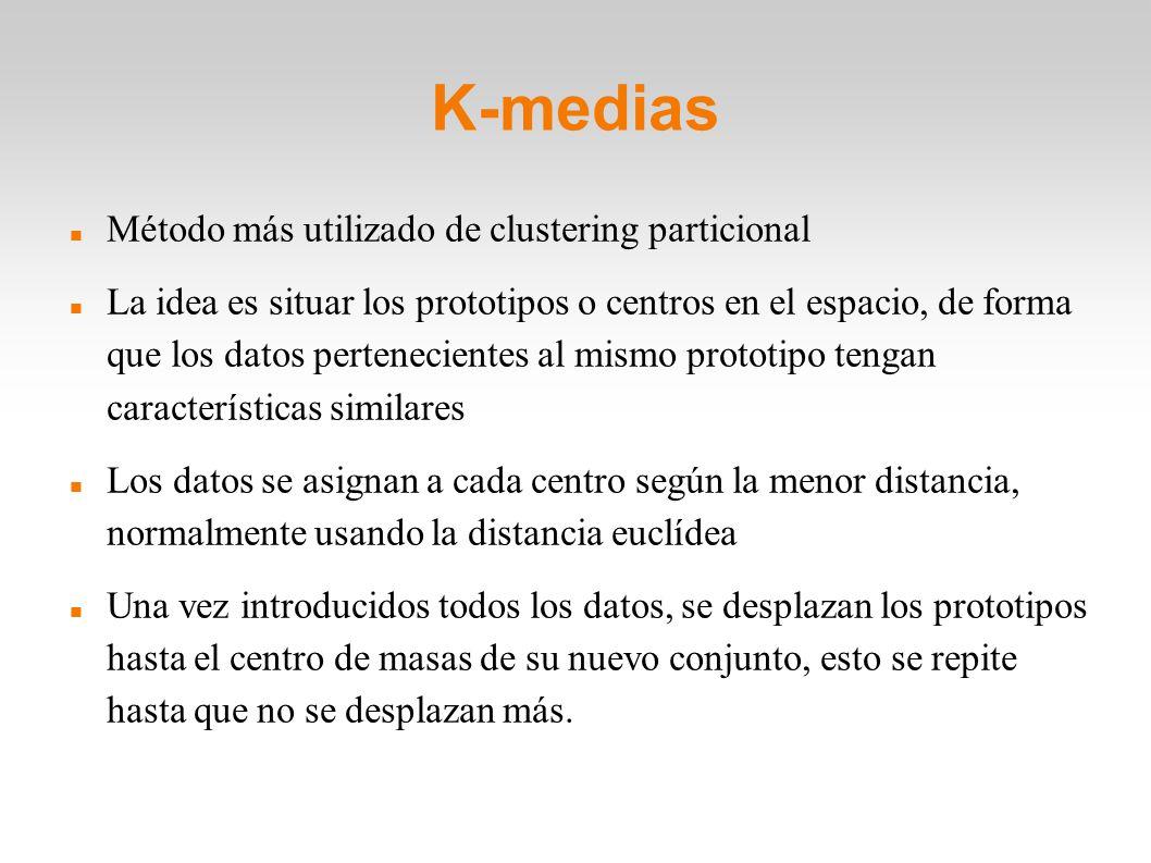 K-medias Método más utilizado de clustering particional La idea es situar los prototipos o centros en el espacio, de forma que los datos perteneciente