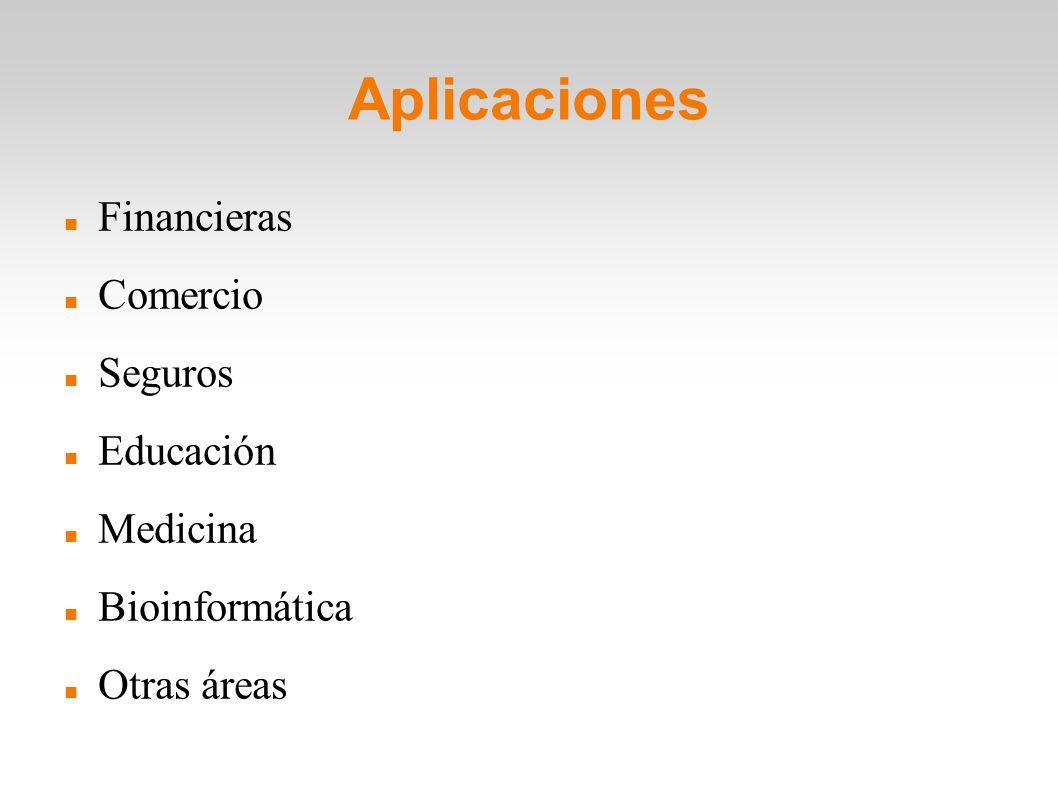 Aplicaciones Financieras Comercio Seguros Educación Medicina Bioinformática Otras áreas