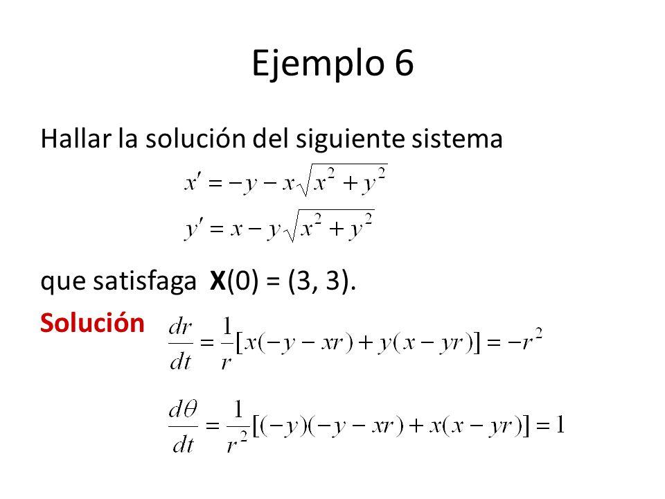 Ejemplo 6 Hallar la solución del siguiente sistema que satisfaga X(0) = (3, 3). Solución