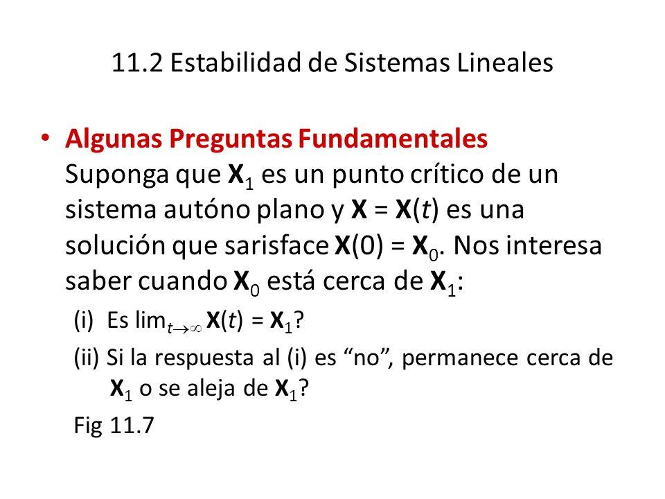 11.2 Estabilidad de Sistemas Lineales Algunas Preguntas Fundamentales Suponga que X 1 es un punto crítico de un sistema autóno plano y X = X(t) es una solución que sarisface X(0) = X 0.