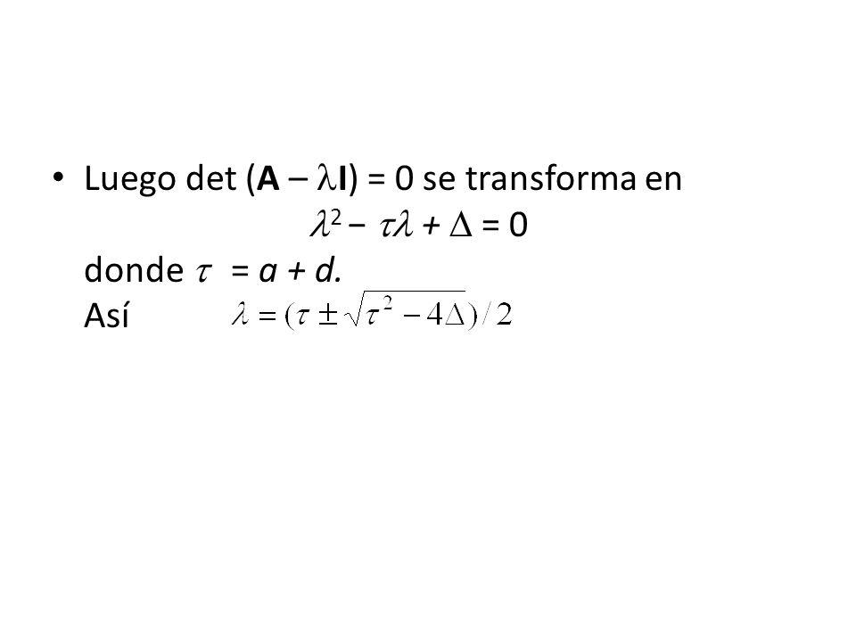 Luego det (A – I) = 0 se transforma en 2 + = 0 donde = a + d. Así