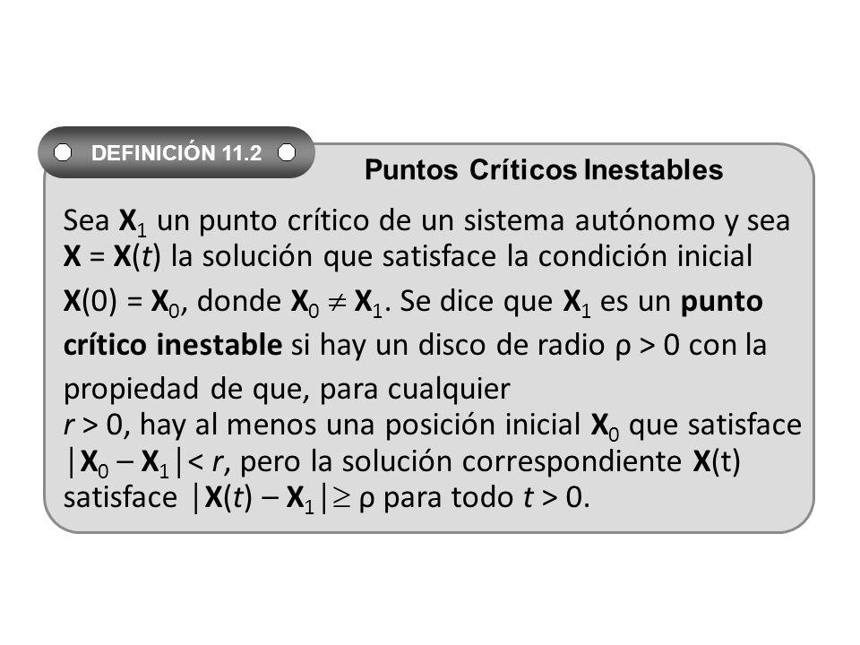 Sea X 1 un punto crítico de un sistema autónomo y sea X = X(t) la solución que satisface la condición inicial X(0) = X 0, donde X 0 X 1.
