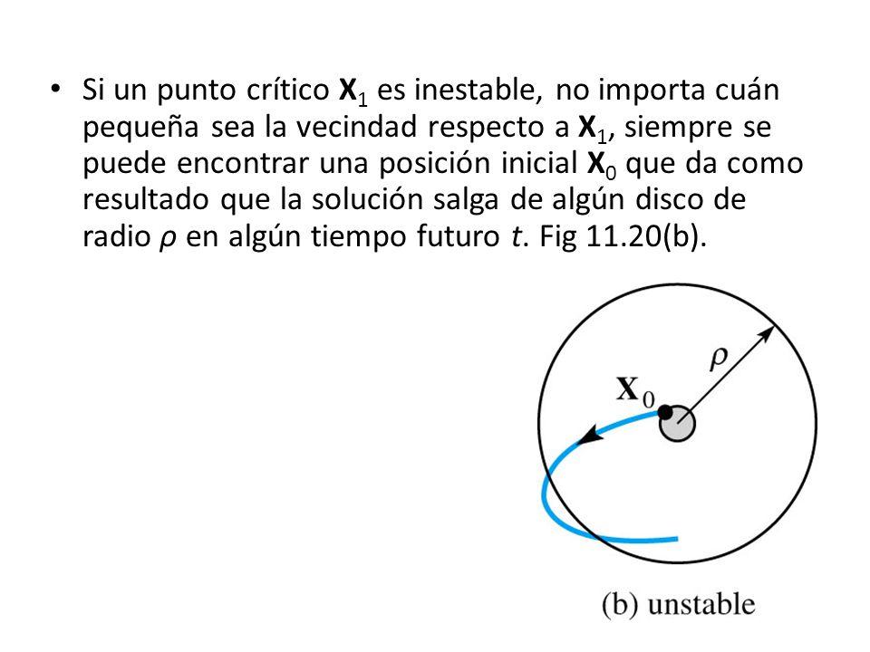 Si un punto crítico X 1 es inestable, no importa cuán pequeña sea la vecindad respecto a X 1, siempre se puede encontrar una posición inicial X 0 que da como resultado que la solución salga de algún disco de radio ρ en algún tiempo futuro t.