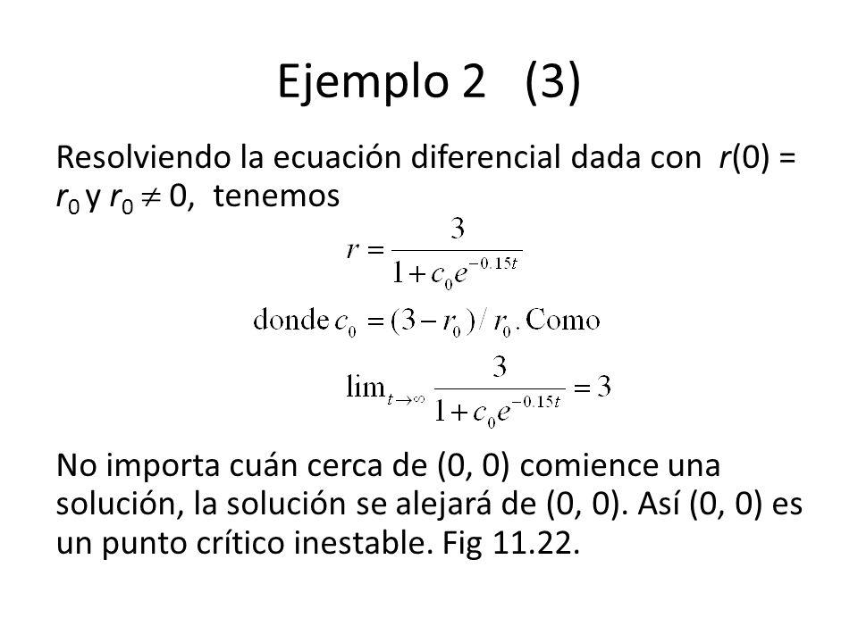 Ejemplo 2 (3) Resolviendo la ecuación diferencial dada con r(0) = r 0 y r 0 0, tenemos No importa cuán cerca de (0, 0) comience una solución, la solución se alejará de (0, 0).