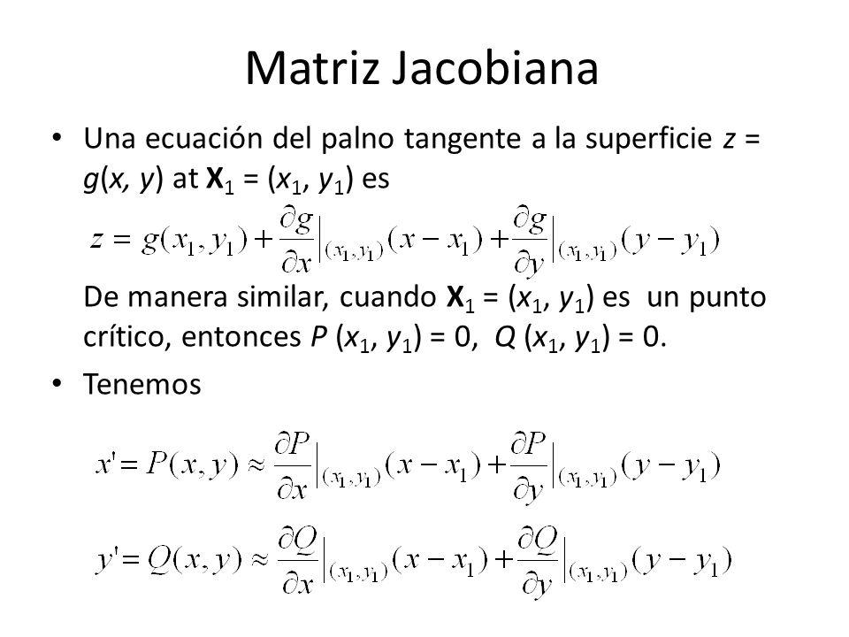 Matriz Jacobiana Una ecuación del palno tangente a la superficie z = g(x, y) at X 1 = (x 1, y 1 ) es De manera similar, cuando X 1 = (x 1, y 1 ) es un punto crítico, entonces P (x 1, y 1 ) = 0, Q (x 1, y 1 ) = 0.