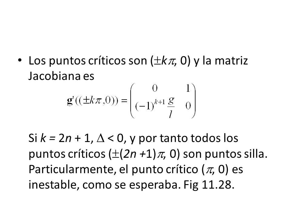Los puntos críticos son ( k, 0) y la matriz Jacobiana es Si k = 2n + 1, < 0, y por tanto todos los puntos críticos ( (2n +1), 0) son puntos silla.