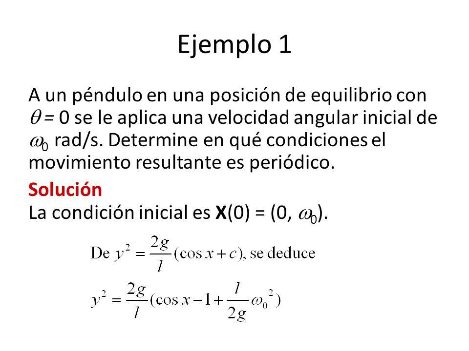Ejemplo 1 A un péndulo en una posición de equilibrio con = 0 se le aplica una velocidad angular inicial de 0 rad/s.