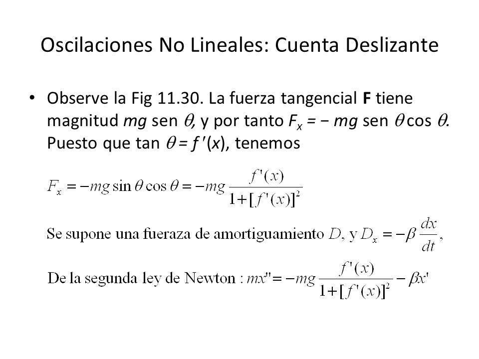 Oscilaciones No Lineales: Cuenta Deslizante Observe la Fig 11.30.