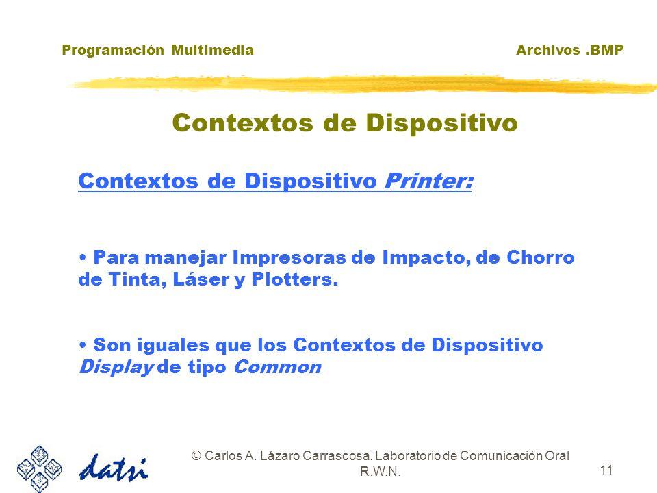 Programación MultimediaArchivos.BMP © Carlos A. Lázaro Carrascosa. Laboratorio de Comunicación Oral R.W.N. 11 Contextos de Dispositivo Printer: Para m