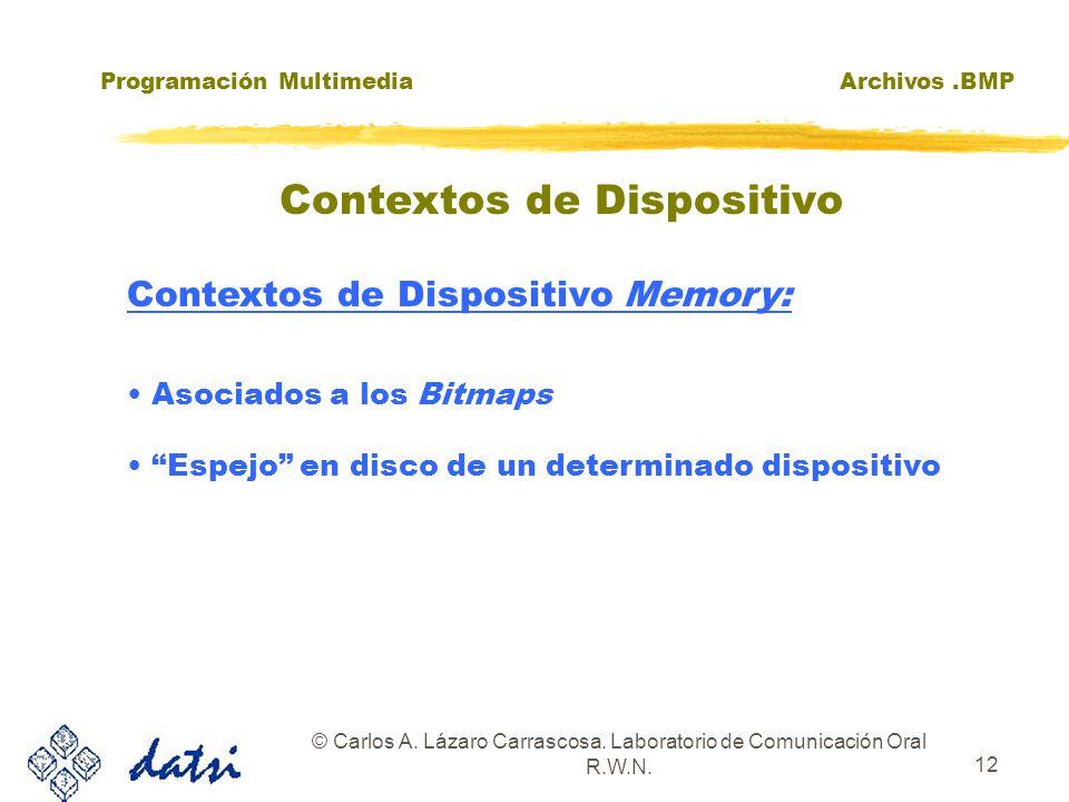 Programación MultimediaArchivos.BMP © Carlos A. Lázaro Carrascosa. Laboratorio de Comunicación Oral R.W.N. 12 Contextos de Dispositivo Memory: Asociad