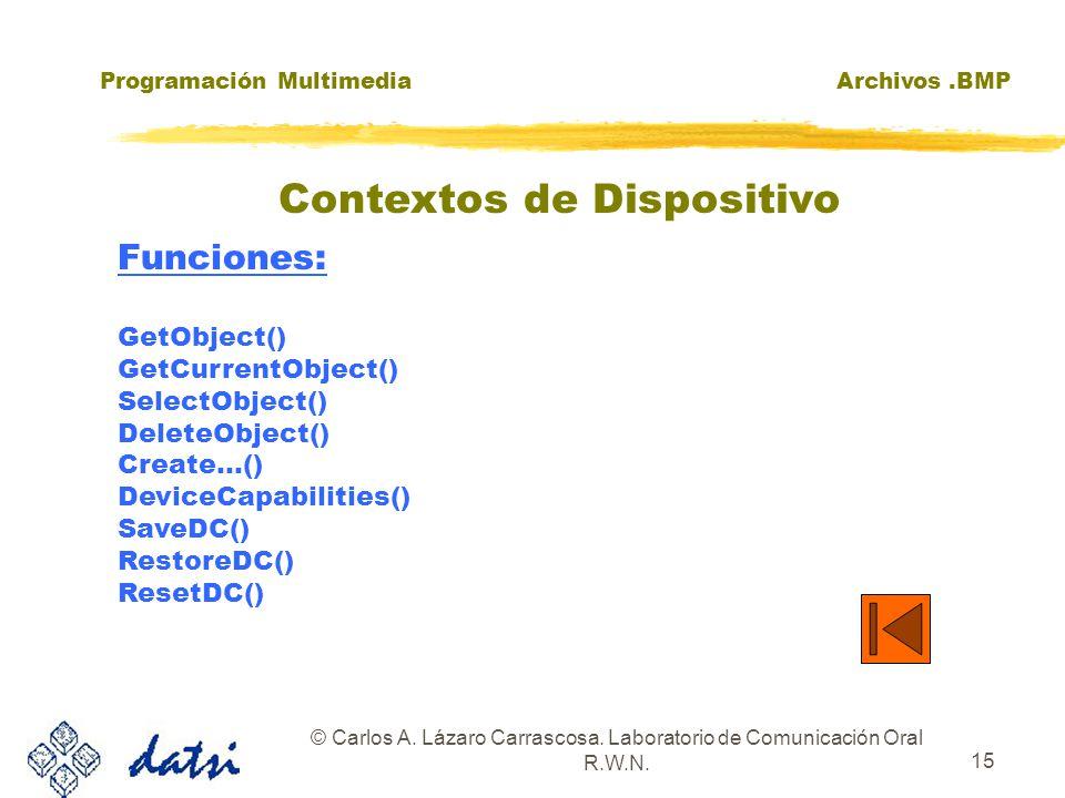 Programación MultimediaArchivos.BMP © Carlos A. Lázaro Carrascosa. Laboratorio de Comunicación Oral R.W.N. 15 Funciones: GetObject() GetCurrentObject(