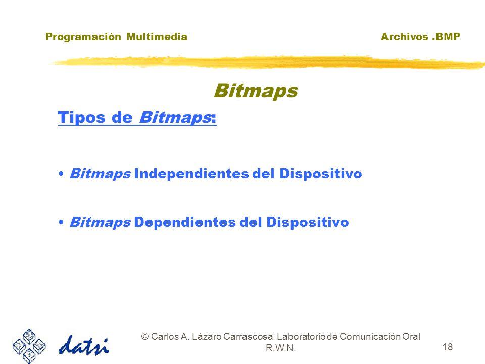 Programación MultimediaArchivos.BMP © Carlos A. Lázaro Carrascosa. Laboratorio de Comunicación Oral R.W.N. 18 Tipos de Bitmaps: Bitmaps Independientes