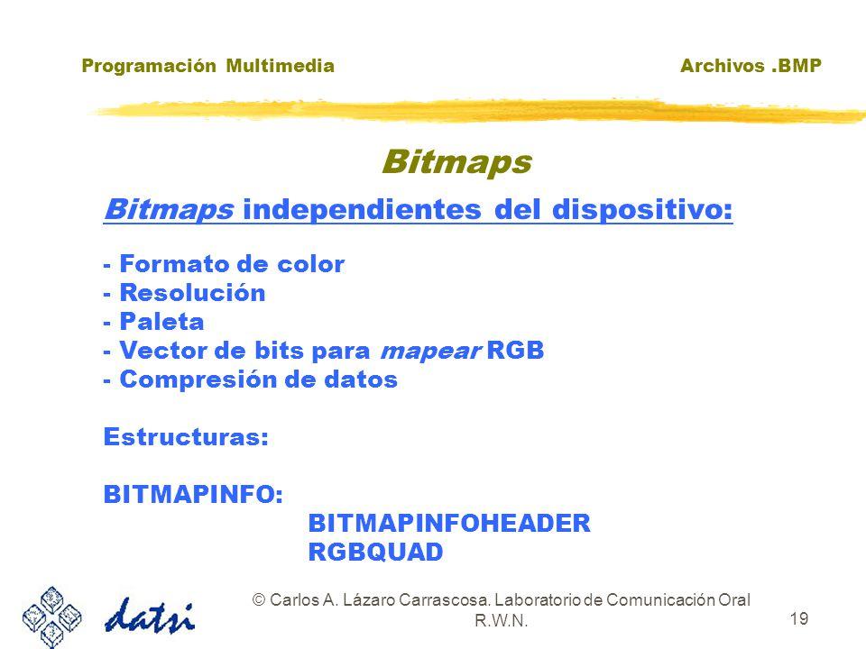 Programación MultimediaArchivos.BMP © Carlos A. Lázaro Carrascosa. Laboratorio de Comunicación Oral R.W.N. 19 Bitmaps independientes del dispositivo: