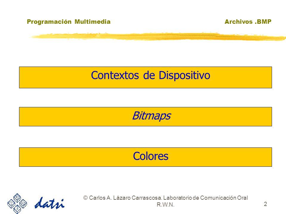 Programación MultimediaArchivos.BMP © Carlos A. Lázaro Carrascosa. Laboratorio de Comunicación Oral R.W.N. 2 zColoresColores zBitmapsBitmaps zContexto