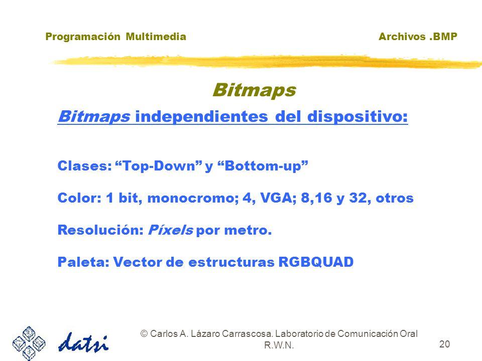 Programación MultimediaArchivos.BMP © Carlos A. Lázaro Carrascosa. Laboratorio de Comunicación Oral R.W.N. 20 Bitmaps independientes del dispositivo: