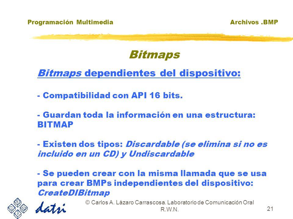 Programación MultimediaArchivos.BMP © Carlos A. Lázaro Carrascosa. Laboratorio de Comunicación Oral R.W.N. 21 Bitmaps dependientes del dispositivo: -