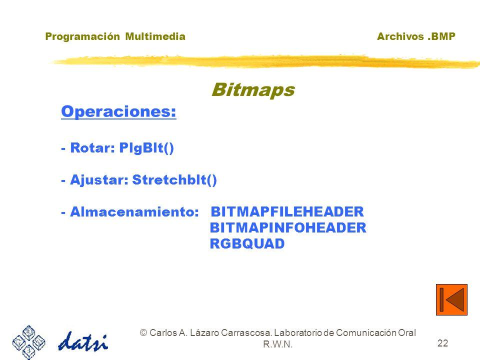 Programación MultimediaArchivos.BMP © Carlos A. Lázaro Carrascosa. Laboratorio de Comunicación Oral R.W.N. 22 Bitmaps Operaciones: - Rotar: PlgBlt() -
