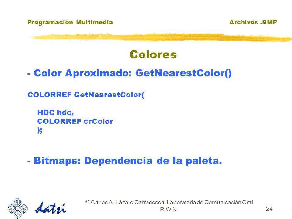 Programación MultimediaArchivos.BMP © Carlos A. Lázaro Carrascosa. Laboratorio de Comunicación Oral R.W.N. 24 - Color Aproximado: GetNearestColor() CO