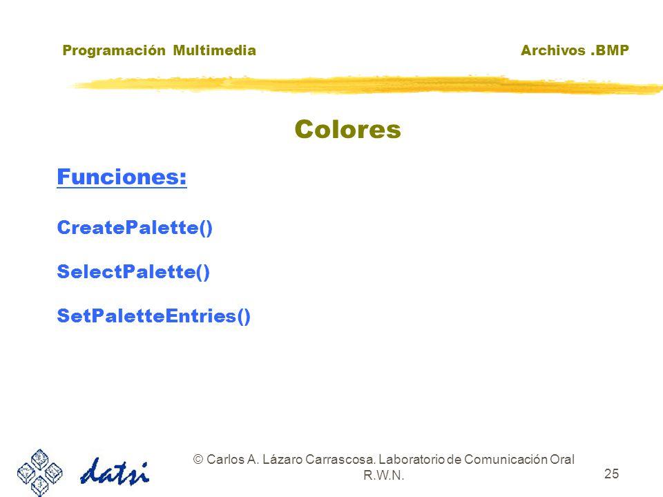 Programación MultimediaArchivos.BMP © Carlos A. Lázaro Carrascosa. Laboratorio de Comunicación Oral R.W.N. 25 Funciones: CreatePalette() SelectPalette