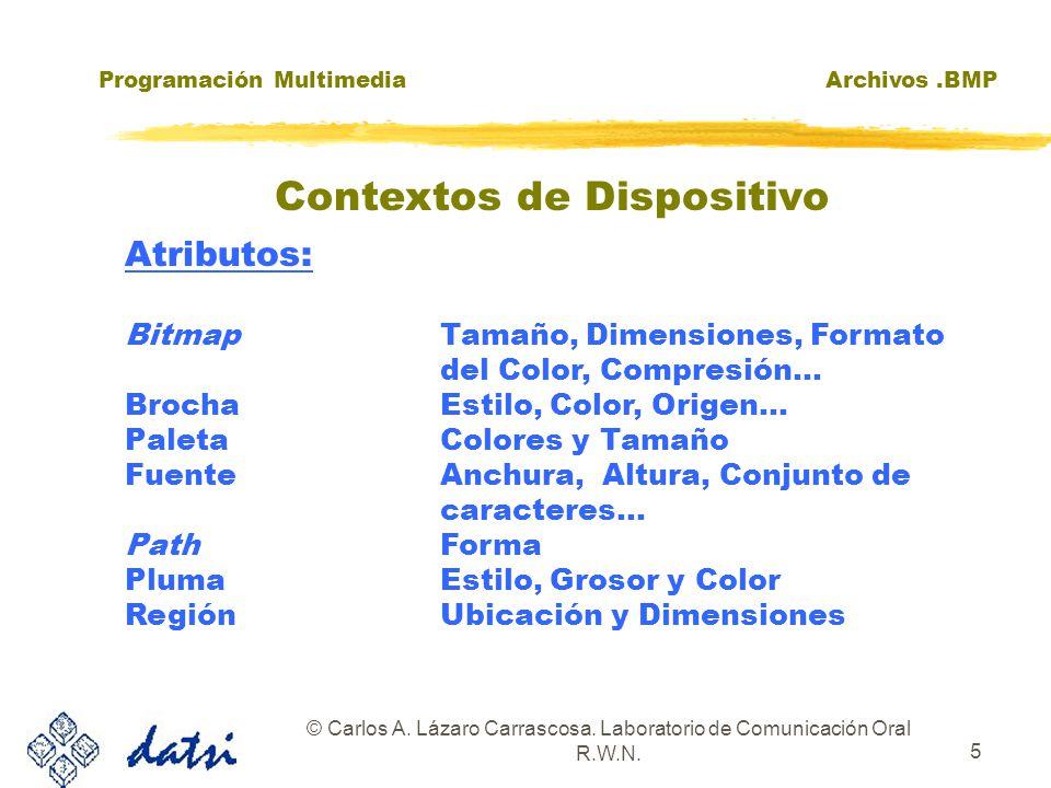 Programación MultimediaArchivos.BMP © Carlos A. Lázaro Carrascosa. Laboratorio de Comunicación Oral R.W.N. 5 Atributos: BitmapTamaño, Dimensiones, For