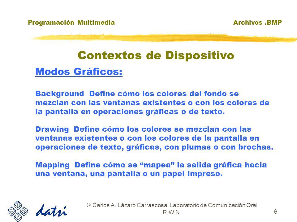 Programación MultimediaArchivos.BMP © Carlos A. Lázaro Carrascosa. Laboratorio de Comunicación Oral R.W.N. 6 Modos Gráficos: Background Define cómo lo