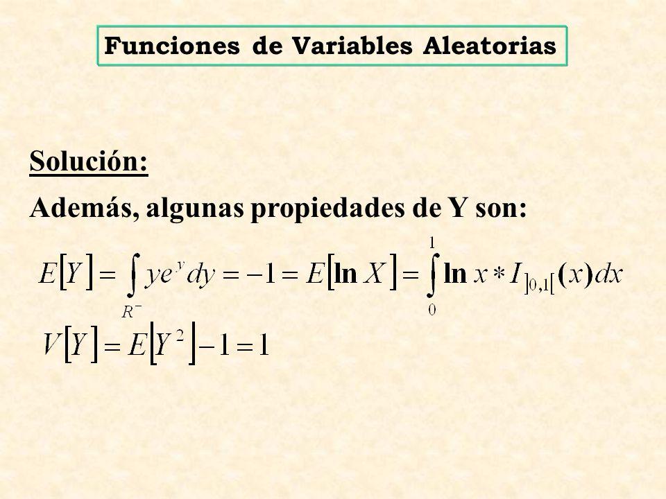 Solución: Además, algunas propiedades de Y son: Funciones de Variables Aleatorias