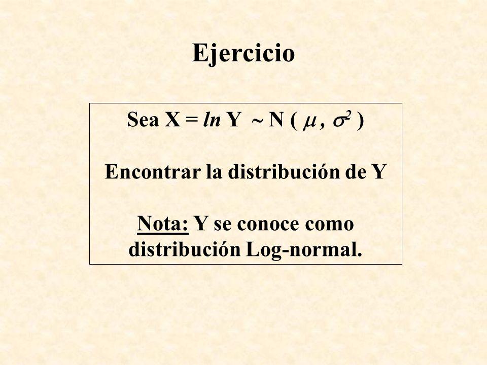 Ejercicio Sea X = ln Y N (, 2 ) Encontrar la distribución de Y Nota: Y se conoce como distribución Log-normal.