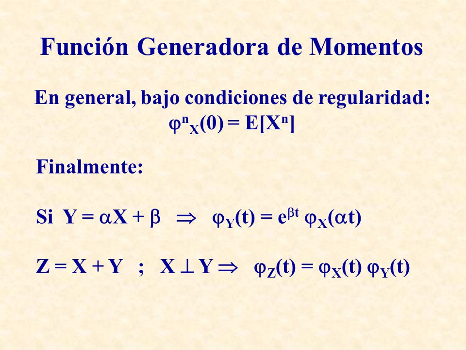 En general, bajo condiciones de regularidad: n X (0) = E[X n ] Función Generadora de Momentos Finalmente: Si Y = X + Y (t) = e t X ( t) Z = X + Y ; X