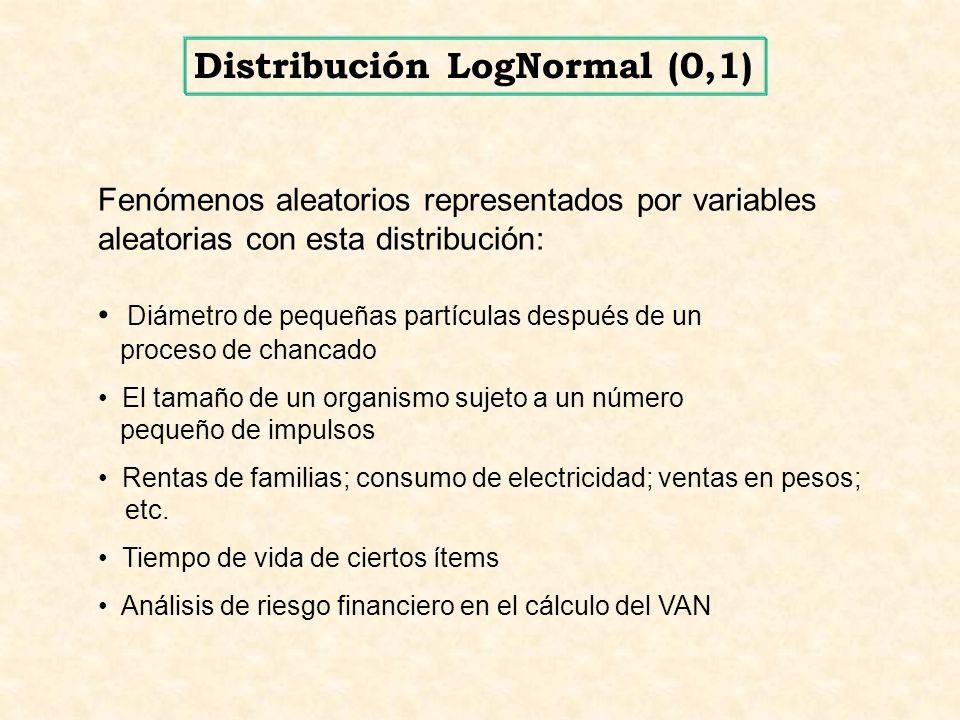 Fenómenos aleatorios representados por variables aleatorias con esta distribución: Diámetro de pequeñas partículas después de un proceso de chancado E