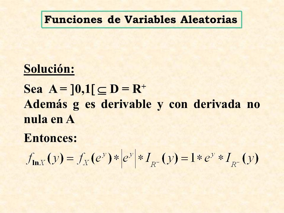Solución: Sea A = 0,1 D = R + Además g es derivable y con derivada no nula en A Entonces: Funciones de Variables Aleatorias