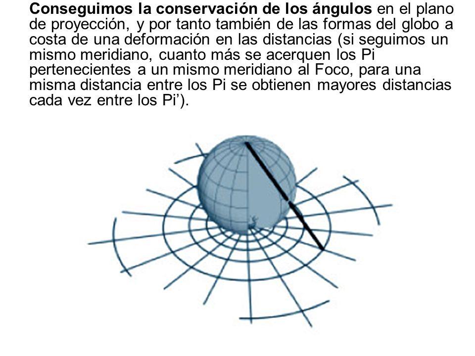 Conseguimos la conservación de los ángulos en el plano de proyección, y por tanto también de las formas del globo a costa de una deformación en las di