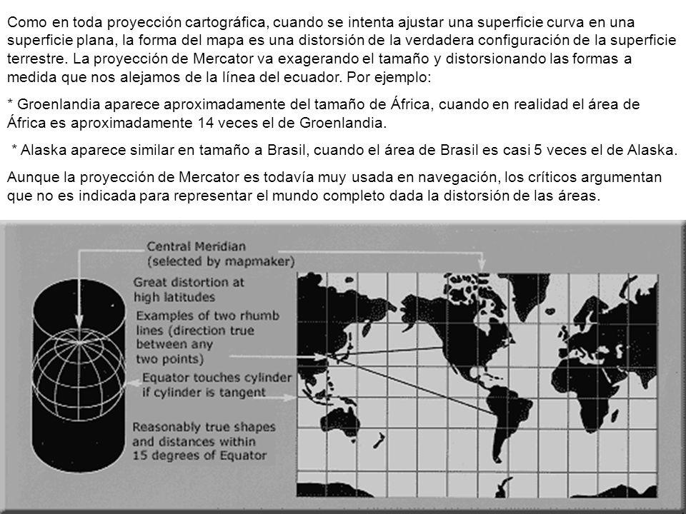 Como en toda proyección cartográfica, cuando se intenta ajustar una superficie curva en una superficie plana, la forma del mapa es una distorsión de l