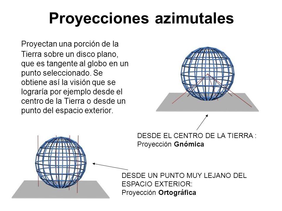 Proyecciones azimutales Proyectan una porción de la Tierra sobre un disco plano, que es tangente al globo en un punto seleccionado. Se obtiene así la