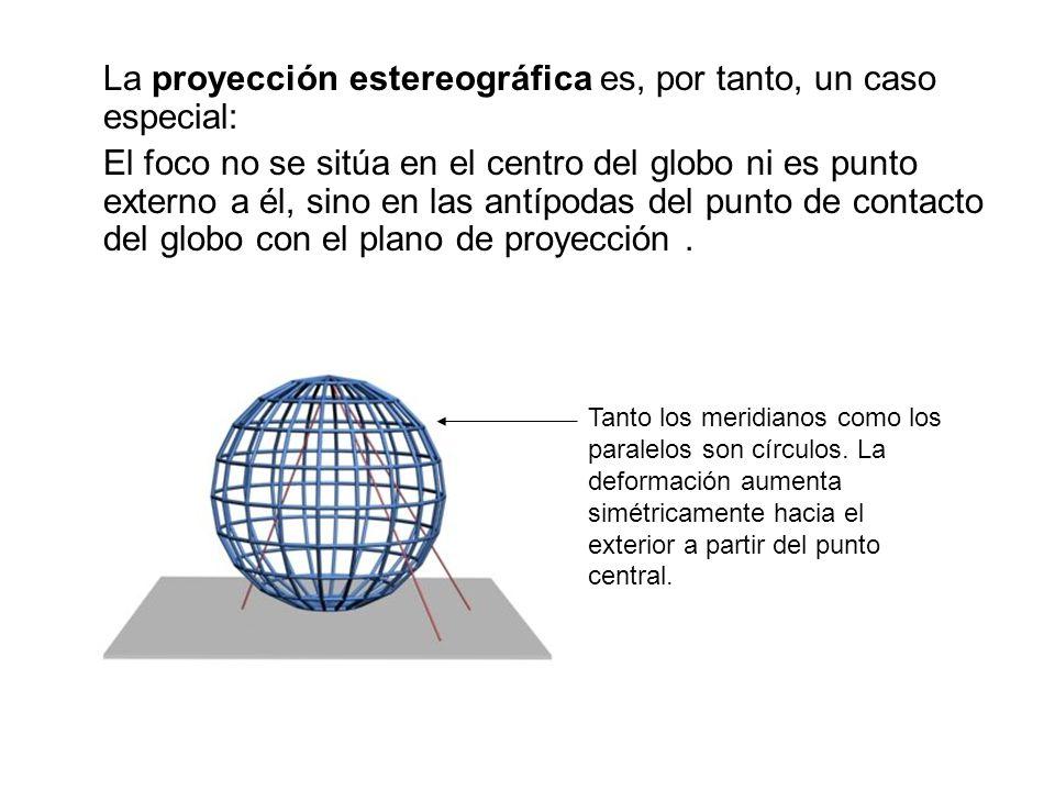La proyección estereográfica es, por tanto, un caso especial: El foco no se sitúa en el centro del globo ni es punto externo a él, sino en las antípod